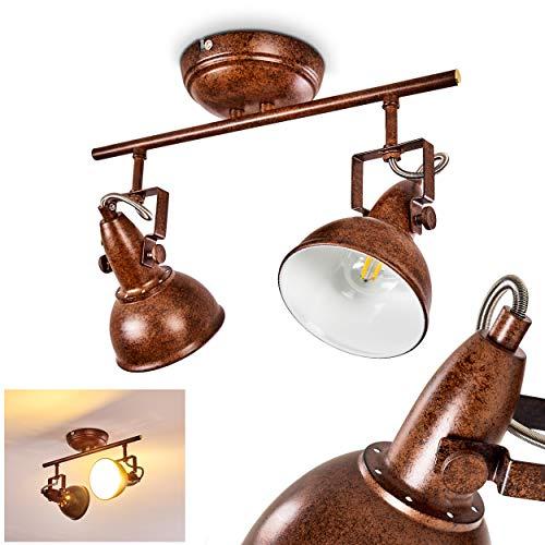 Plafondlamp Tina, plafondlamp van metaal in roestbruin/wit, 2 vlammen, met verstelbare schijnwerpers, 2 x E14 stopcontact, max. 40 Watt, spot in retro/vintage uitvoering, geschikt voor LED-lampen