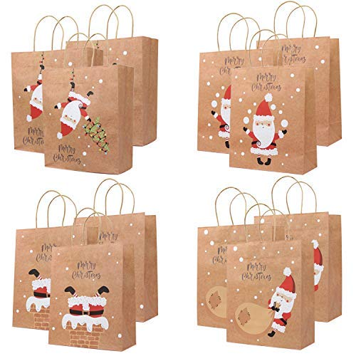UNIQOOO 12Pcs Santa Claus Christmas Kraft Paper Gift Wrap Bags, Chimney Xmas Tree Ornament, For Thanksgiving Present Wrapping Stocking Stuffer, Holiday Party Favor Treat Goodie Bag, Recyclable 10 Inch