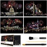 Wbeng Scratch & Sketch Art for Kids & Adults, Rainbow Painting Night View Scratchboard(A4), Art & Craft, Scratch Art Set: 4 Sheets Scratch Cards & Scratch Drawing Pen, Clean Brush (City Fireworks)