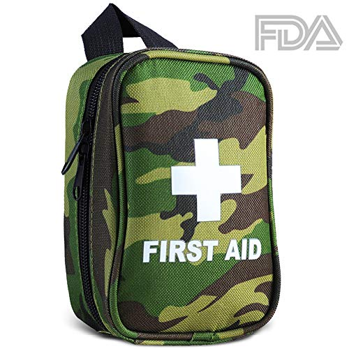Small First Aid Kit, RISEN Military Medical Waterproof Emergency Survival Kit with FDA OSHA Certificate for Camping Hiking Backpack Travel Earthquake Outdoor Sports (43 Pcs)