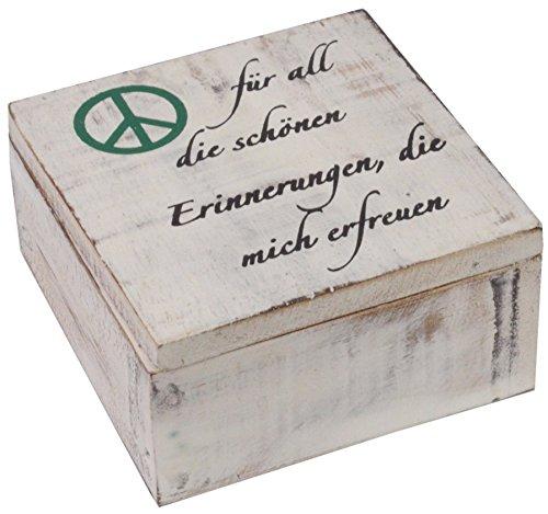 CHICCIE Box avec Inscription en Allemand – 12 x 12 cm – Boîte de Rangement écrin Boîte mit Peace Symbol