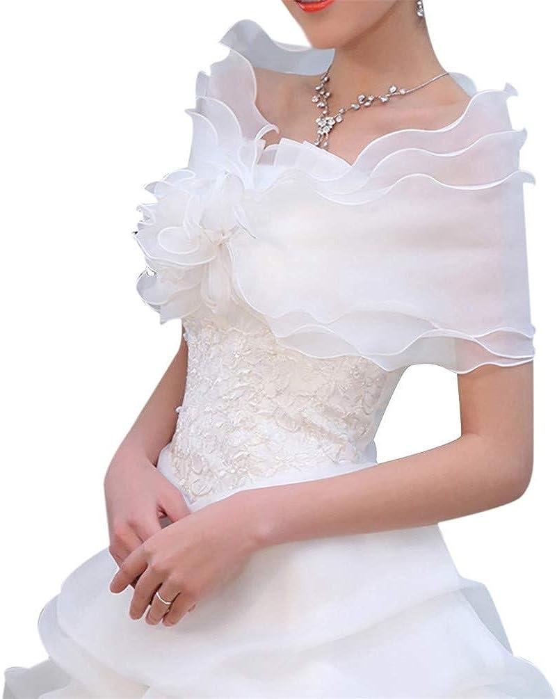 Three Layers Voile Crimping Ruffled Bridal Wrap Shoulder Chiffon Wedding Shawl Stole Bowknot