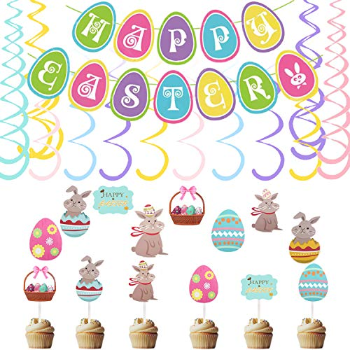 26 PCS Easter Decorations Egg Bunny Easter Hanging Swirl Foil Ceiling Decorations with Happy Easter Banner for Home Office School and Easter Themed Party Decoration