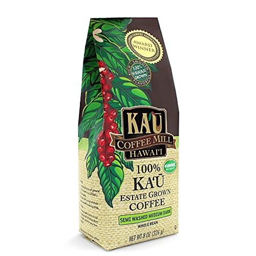 Semi Washed Medium Dark Whole Bean Ka'u Coffee (8 Ounce), 100% Hawaiian Award Winning Coffee by Ka`u Coffee Mill
