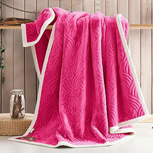 YIWANGO Nimen Double épais Couverture Unique Double Coral Cashmere Blanket Winter Wedding Gift,A2