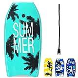 RELAX4LIFE Schwimmbrett tragbar, Schwimmboard mit Halteleine, Rutschfestes Surfbrett für Kinder & Erwachsene, Surfboard bis 85 kg belastbar, Bodyboard Shortboard, 104 x 52 x 6cm, XPE HDPE (Grün)