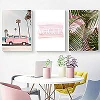 ピンクのヤシの木のキャンバスの絵画の壁の写真ファッションピンクのファンレトロなポスターとリビングルームの壁のアートの装飾のためのプリント20x30cmx3フレームレス