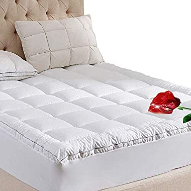 WhatsBedding Mattress Pad King Size 400TC Cotton Top 3M Water Resistant Hypoallergenic-71oz Down Alternative Filling Pillowtop Mattress Topper Cover-Fitted Quilted 8-21 Inch Deep Pocket