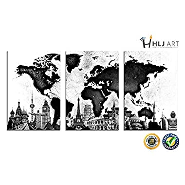 World Map Canvas Wall Art Black and White Famous Architecture HLJ Painting Stretched and Framed Hang for Home Office Wall Decoration 16x24in