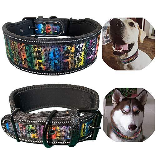Dog Collar, Reflective Dog Collar Heavy Duty Dog Adjustable Collar Padded Dog Collar Soft Lining for Medium & Large Dogs 1 Pcs, 2' Width