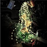 YITING 12 Strands 240 LEDs Solar Powered Twinkle Firefly Bunch Lights Waterproof Timbo Fairy Starry String Lights Decorative Silver Wire Vine Solar Lights for Outdoor, Garden, Christmas Tree Wedding
