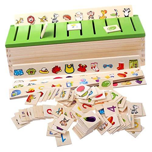 POFET Montessori Clasificación infantil Educación 1 caja de clasificación, 8 tiras de clasificación, 80 mini tarjetas de clasificación