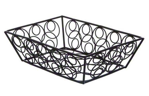 American Metalcraft EBB59B Steel Rectangular Wire Loop-D-Loop Bread Basket, Small, 9' L x 6' W x 2.5' H, Black