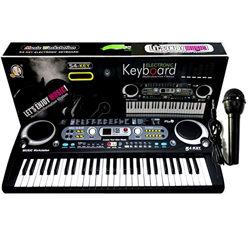 Black Digital 54 Keys Electronic Keyboard & Microphone Mic Electric LED...