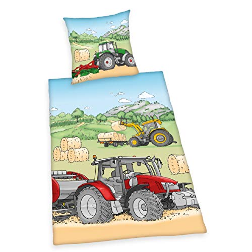Bettwäsche-Set Traktor, Kissenbezug 70x90cm, Bettbezug 140x200cm, Material 100% Baumwolle, Renforcé, mit leichtläufigem Reißverschluss