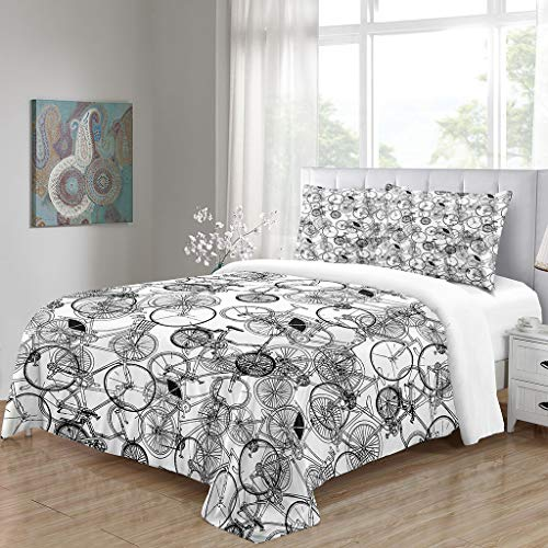 Bedding Duvet Cover Set White Black Cartoon Bicycle Twin Size with Zipper Closure, Ultra Soft Microfiber Comforter Cover Sets 2 Pieces (1 Duvet Cover + 1 Pillow Shams), 68X86in