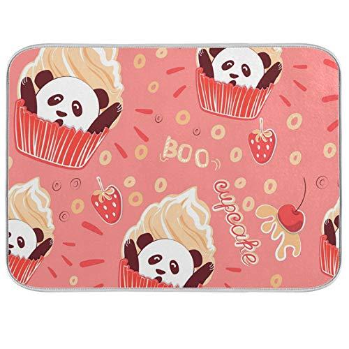 Tapis de séchage à vaisselle en microfibre de comptoirs de cuisine protecteur de coussin sec 16 x 18 pouces mignon doux Panda tasse gâteau fraise