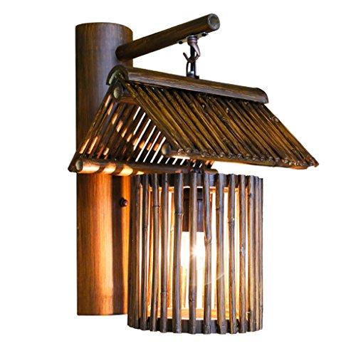 YLLXX Lámpara De Pared De Bambú Del Sudeste Asiático Sala De Té Creativa De Bambú Antigua China Cortijo De Restaurante Japonés Dormitorio Lámpara De Noche