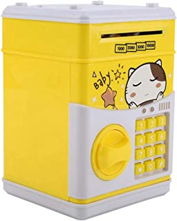 VGEBY1 Electronic Piggy Banks, Music Electronic Cash Coin Can Toy Password Money Box ATM Electric Automatic Locks Saving Box for Child (Yellow)