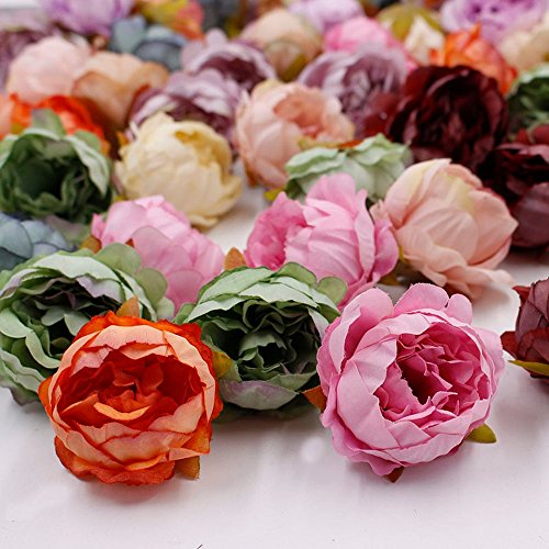 Artificial Flower Peony flower head silk For Wedding Decoration party festival Home Decor DIY Decorative Wreath Fake Flowers 15 pieces 5cm (Colorful)