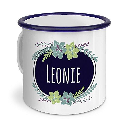 printplanet Emaille-Tasse mit Namen Leonie - Metallbecher mit Design Flowers - Nostalgie-Becher, Camping-Tasse, Blechtasse, Blau