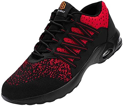 DYKHMILY Zapatillas de Seguridad Hombre Zapatos de Seguridad Colchón de Aire Respirable Calzado de Seguridad Ligeros(Negro Rojo,43EU)