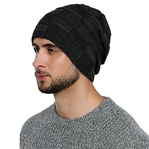 DonDon Herren Winter long Beanie sehr warme und weiche Mütze mit Teddyfleece schwarz...