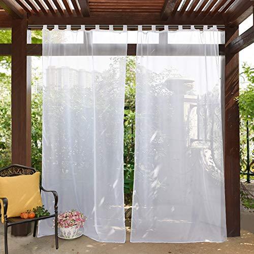 PONY DANCE Visillos Blancos Trabillas Exterior Jardin - Cortinas Gasa Impermeable Dormitorio Moderno 1 Unidad, 137 x 243 cm (An x Al), Separadores Ambientes Salon Cocina Moderno