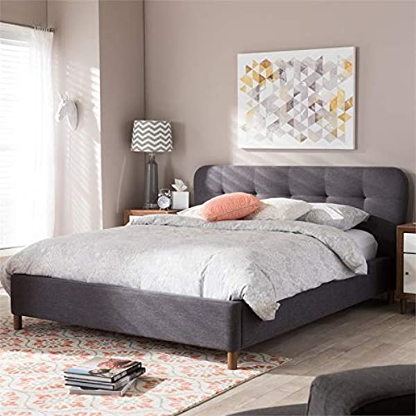 Baxton Studio Germaine Platform Bed In Dark Gray Queen 91 43 In L X 73 13 In W X 39 In H