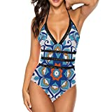 Yilooom Boho Geometric Pattern, Women One Piece Bikini Swimsuit, V Neck Beach Swimwear Bathing Suit