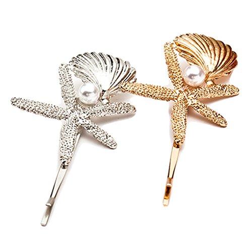 Women Hairpins Starfish HairClips Beach Sea Star Barrettes Pins Headwear JA92 (C)