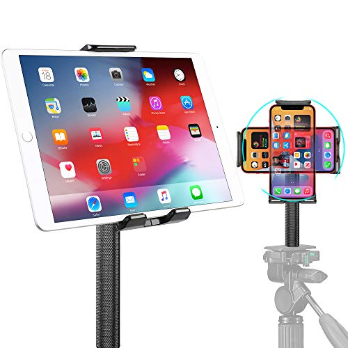 Elitehood Phone Tablet Tripod Mount Holder with Head Standard Screw & 1/4'' Hot Shoe, Tablet Clamp Holder Fits Cell Phone, iPhone, iPad Mini, iPad, iPad Air, for Tripod Monopod, Tabletop, Ring Light