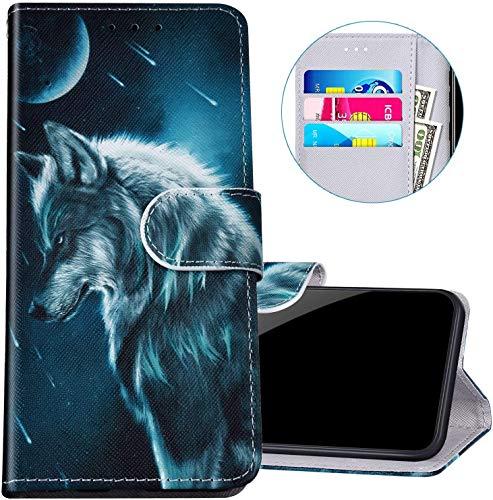Felfy Kompatibel mit Huawei Honor 9 Lite Hülle Bunte Painted Muster Schutzhülle,Tasche für Huawei Honor 9 Lite Handyhülle Magnet Klapphülle PU Lederhülle mit Kartenfach/Standfunktion - Cooler Wolf