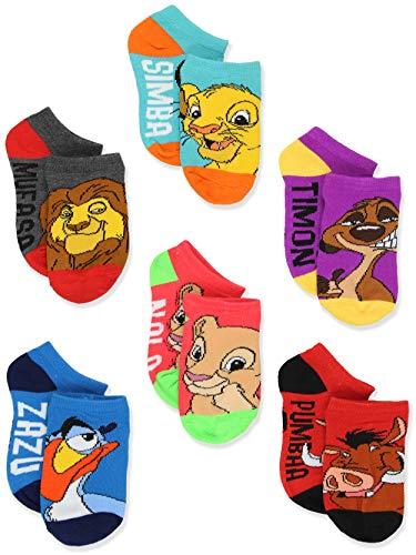 Disney The Lion King Boy's Girl's Toddler Teen Adult's 6 pack Socks Set (Shoe: 10-4 (Sock: 6-8), Blue/Multi)