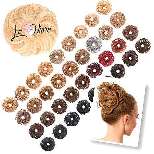 La Viora Haarteil Messy Bun, Hochsteckfrisur Dutt mit extra viel Haar (45g), Dutt Haarteil mit Gummiband für festen Halt, vegan und dermatologisch getestet, Farbe
