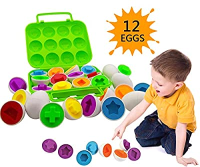 Beakabao 12pcs Color and Shape Matching Egg Set Montessori Toddler Education Classification Toys for Fine Motor Skills of The Fingers Muscles, Preschool Children Smart Puzzles Easter Gifts (Green)