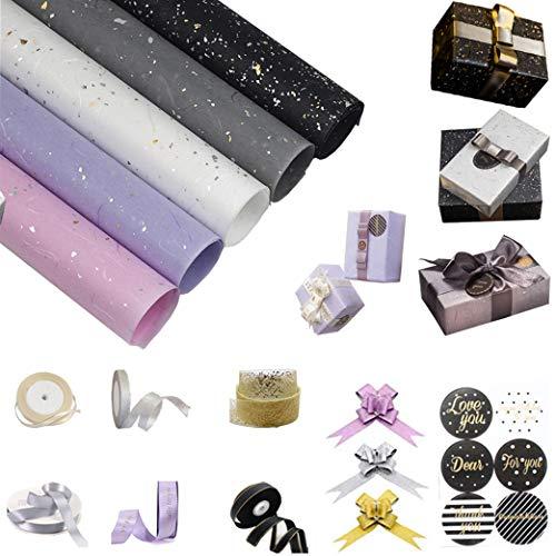sfesnid 9 X Geschenkpapier Golddruck(60 X 60CM Pro Rolle) + Satinband + Ziehschleife Verpackung für Geschenk Geburtstag Hochzeit Taufe Valentines Weihnachten Geschenkverpackung