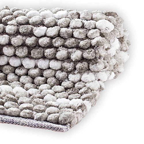 etérea Badematte, Badteppich, Duschvorleger - Vani - weicher Hochflor Badvorleger, waschbar und für Fußbodenheizung geeignet, 50x80 cm, Grau Anthrazit