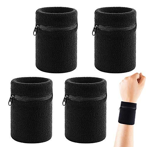 CHALA 4STK Schweissband Handgelenk Set Sport Schweißband Wristband Handgelenktasche Schweißarmband mit Reißverschlusstasche für Fitness Laufen Radfahren Fußball Basketball