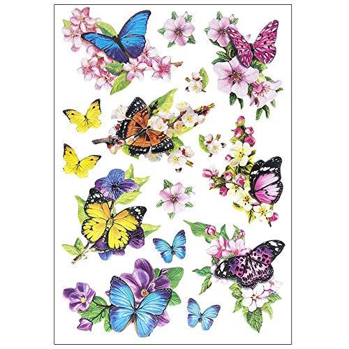 Stickerbogen 3-D Relief-Sticker | Hochwertig geprägt mit 3-D-Effekt | Din A4 Bogen mit verschiedenen Motiven (Schmetterlinge auf Zweigen)