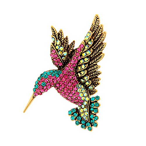 Broche de pino de cristal austríaco multicolorido colorido de beija-flor de pássaro dourado antigo