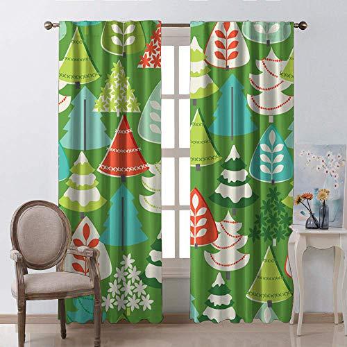 Drapes voor ramen, kerst groene dennennaalden met rode strikken en Baubles Festoon ontwerp natuurlijke afbeelding staaf Pocket venster gordijnen