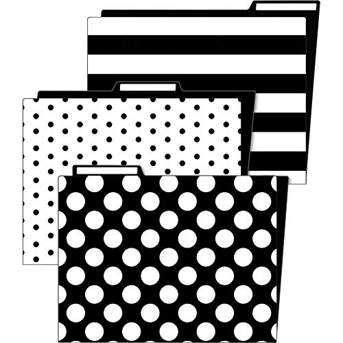 Schoolgirl Style Simply Stylish Decorative File Folders—11.75 x 9.5 Black and White File Folders for Filing Cabinet, Office or Classroom File Organization (6-Pack)