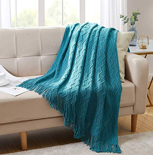 Bourina Throw Blanket Textured Solid Soft Sofa Couch Decorative Knitted Blanket, 50' x 60',Teal