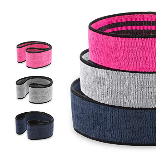 Ikonify Booty Resistance Bands, Non Slip Hip Exercise Band, Set of 3 Hip Band in Pink, Grey, Blue, Perfect for Squats, Butt, Thigh and Hip Workout, Both for Male and Female, with Exercies Sliders