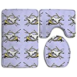 DearLord Horses And Hunting Horns Bath Mat Set,3 Piece Bathroom Mats Set Non-Slip Bathroom Rugs/Contour Mat/Toilet Cover