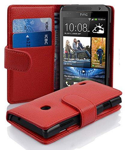 Cadorabo Funda Libro para HTC Desire 300 en Rojo Infierno - Cubierta Proteccíon de Cuero Sintético Estructurado con Tarjetero y Función de Suporte - Etui Case Cover Carcasa