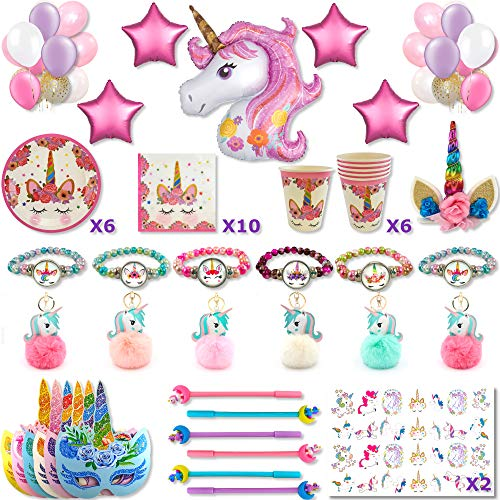 Kit de cumpleaños de unicornio para niña: decoración de pared (globos de...