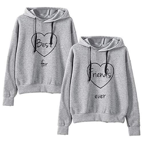 Friends Hoodie für Zwei Mädchen Best Friends Pullover Freunde Sweatshirts mit Kapuze Partner Look Damen BFF Kapuzenpullis Symbol der Freundschaft 2 stücke(Grau,Best-S+Friends-S)