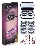 Bisutang Magnetic Eyelashes and Eyeliner, 6-Pair Reusable Magnetic Lashes and 2 Tubes of Magnetic Eyeliner with Storage Case, [Upgraded] Glue-free Natural Look Eye Lashes with Scissors Tweezers